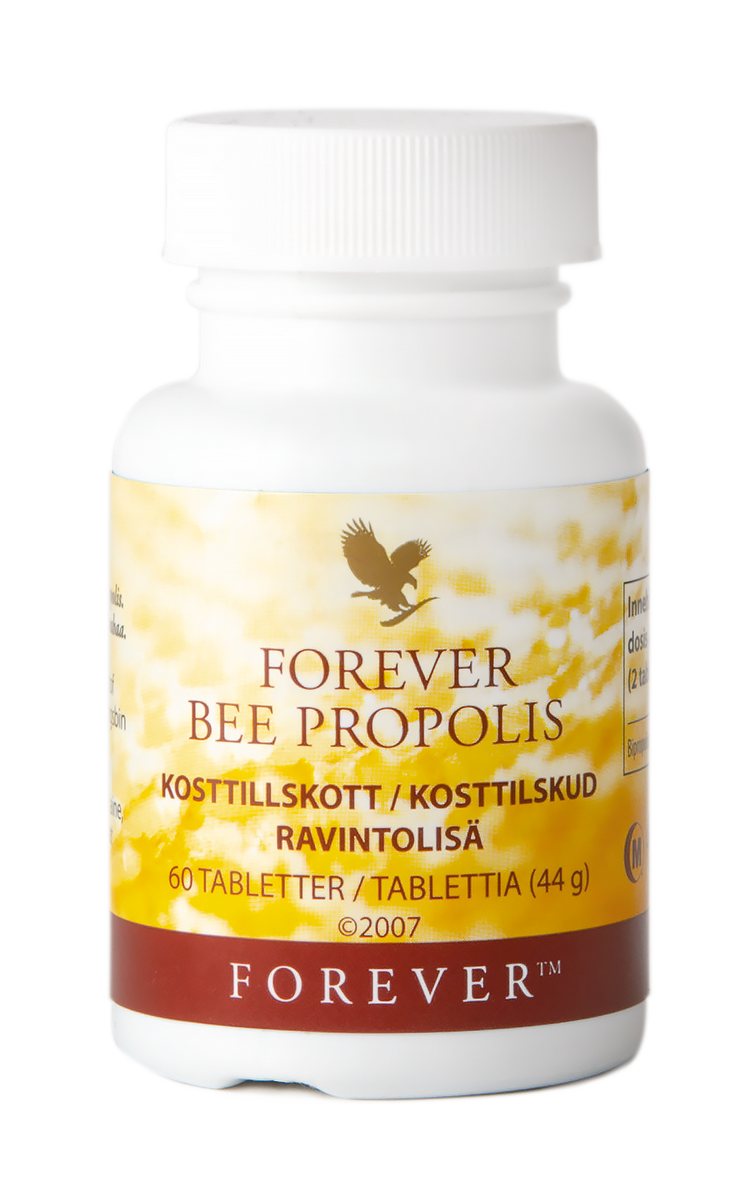 Forever Bee Propolis protects the bee hive from pathogens, and is also used in skincare and as a dietary supplement. Here in tablet form from Forever Living Products.