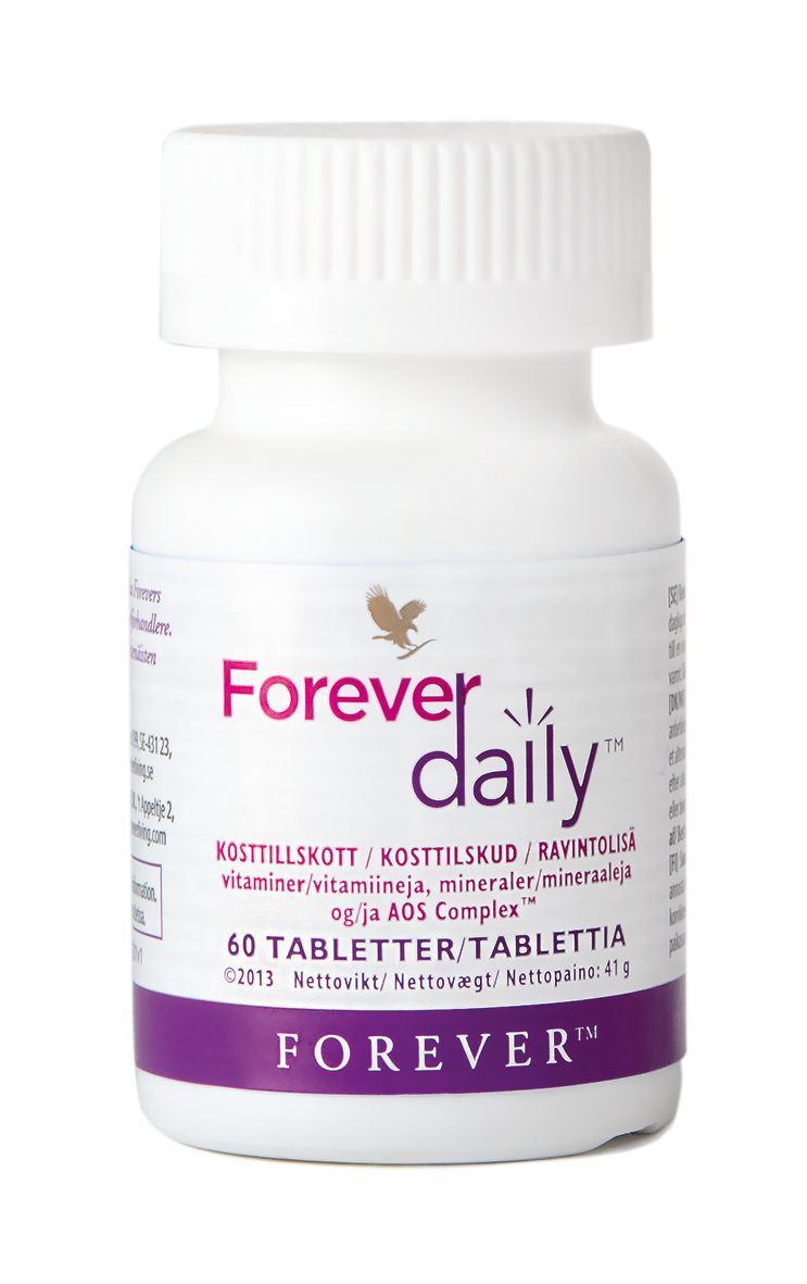 Forever Daily is a daily multivitamin with essential vitamins and minerals, Aloe vera, lycopene, Q10 and our own fruit and vegetable mix.