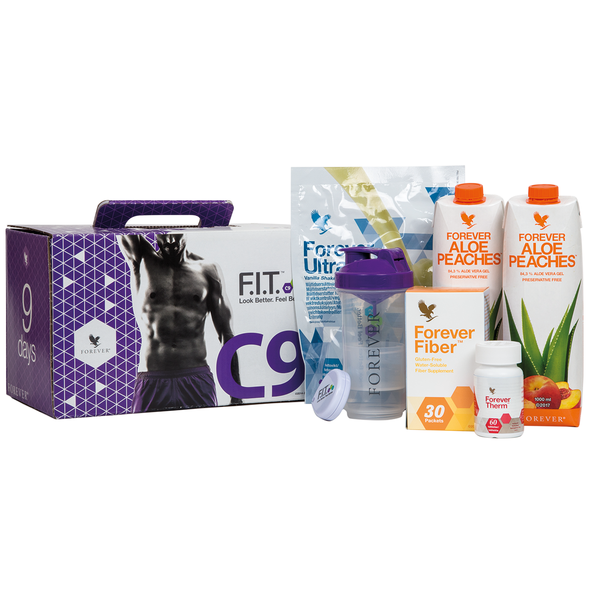 The C9 programme gives you Forever Ultra, Forever Therm, Forever Fiber and Forever Aloe Vera Gel – as well as a manual to help you change your lifestyle.